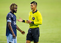 CARSON, CA - OCTOBER 18: Referee Victor Rivas scolds Leonard Owusu #17 of the Vancouver Whitecaps during a game between Vancouver Whitecaps and Los Angeles Galaxy at Dignity Heath Sports Park on October 18, 2020 in Carson, California.