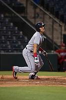 AZL Indians 2 designated hitter Yainer Diaz (4) starts down the first base line during an Arizona League game against the AZL Angels at Tempe Diablo Stadium on June 30, 2018 in Tempe, Arizona. The AZL Indians 2 defeated the AZL Angels by a score of 13-8. (Zachary Lucy/Four Seam Images)
