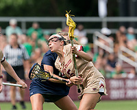 NEWTON, MA - MAY 22: Belle Smith #5 of Boston College on the attack during NCAA Division I Women's Lacrosse Tournament quarterfinal round game between Notre Dame and Boston College at Newton Campus Lacrosse Field on May 22, 2021 in Newton, Massachusetts.