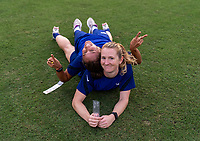 TOKYO, JAPAN - JULY 20: Lynn Williams #21 and Samantha Mewis #3 of the USWNT pose for a photo after a training session at the practice fields on July 20, 2021 in Tokyo, Japan.