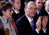 Il Presidente del Consiglio Enrico Letta, affiancato dalla moglie Gianna Fregonara, durante un incontro con la Comunita' Ebraica romana insieme al Primo Ministro israeliano nel Tempio Maggiore, Roma, 1 dicembre 2013.<br /> Italian Premier Enrico Letta, flanked by his wife Gianna Fregonara, left, meets the Roman Jewish Community with Israeli Prime Minister at the Great Synagogue, Rome, 1 December 2013.<br /> UPDATE IMAGES PRESS/Isabella Bonotto