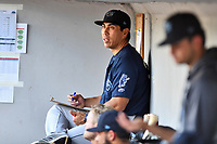 Mobile BayBears hitting coach Cole Garner (31) before a game against the Tennessee Smokies at Smokies Stadium on June 2, 2018 in Kodak, Tennessee. The BayBears defeated the Smokies 1-0. (Tony Farlow/Four Seam Images)