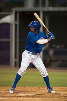 AZL Cubs 1 designated hitter Josue Huma (13) at bat during an Arizona League game against the AZL Padres 1 at Sloan Park on July 5, 2018 in Mesa, Arizona. The AZL Cubs 1 defeated the AZL Padres 1 3-1. (Zachary Lucy/Four Seam Images)