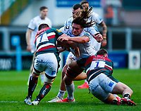 21st November 2020; Welford Road Stadium, Leicester, Midlands, England; Premiership Rugby, Leicester Tigers versus Gloucester Rugby; Jordy Reid of Gloucester Rugby is tackled by Facundo Gigena and Tommy Reffell of Leicester Tigers