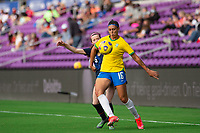 ORLANDO CITY, FL - FEBRUARY 21: Beatriz #16 of Brazil battles for the ball during a game between Brazil and USWNT at Exploria Stadium on February 21, 2021 in Orlando City, Florida.