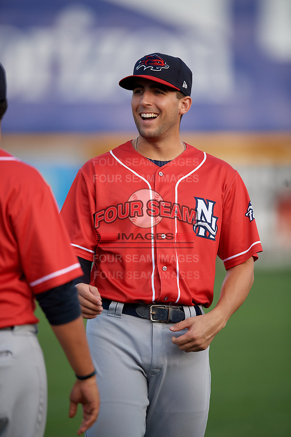 New Hampshire Fisher Cats Kevin Smith (4) during warmups before an Eastern League game against the Trenton Thunder on August 20, 2019 at Arm & Hammer Park in Trenton, New Jersey.  New Hampshire defeated Trenton 7-2.  (Mike Janes/Four Seam Images)