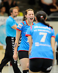 Rüsselsheim, Germany, April 13: Ksenija Ivanovic #12 of the VC Wiesbaden celebrates after winning a point during play off Game 1 in the best of three series in the semifinal of the DVL (Deutsche Volleyball-Bundesliga Damen) season 2013/2014 between the VC Wiesbaden and the Rote Raben Vilsbiburg on April 13, 2014 at Grosssporthalle in Rüsselsheim, Germany. Final score 0:3 (Photo by Dirk Markgraf / www.265-images.com) *** Local caption ***