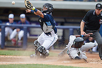 West Michigan Whitecaps catcher Arvicent Perez (13) reaches for the ball Dayton Dragons baserunner Shed Long (5) slides into home on April 24, 2016 at Fifth Third Ballpark in Comstock, Michigan. Dayton defeated West Michigan 4-3. (Andrew Woolley/Four Seam Images)