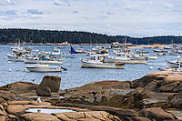 Fishing boats docked in harbor, Stonington, Deer Isle, Maine, USA.