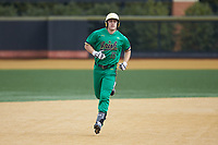 Eric Gilgenbach (15) of the Notre Dame Fighting Irish circles the bases after hitting a 3-run home run against the Wake Forest Demon Deacons at David F. Couch Ballpark on March 10, 2019 in  Winston-Salem, North Carolina. The Demon Deacons defeated the Fighting Irish 7-4 in game one of a double-header.  (Brian Westerholt/Four Seam Images)