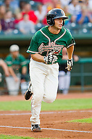 Austin Nola (16) of the Greensboro Grasshoppers hustles down the first base line against the Lakewood BlueClaws at NewBridge Bank Park on August 18, 2012 in Greensboro, North Carolina.  The Grasshoppers defeated the BlueClaws 9-4.  (Brian Westerholt/Four Seam Images)