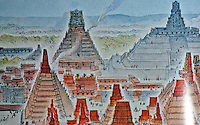 World Civilization:  Mayan Culture--Tikal, Central portion of Temple complexes:  left, Temple I,  the Giant Jaguar; Temple V, Great Plaza; South Acropolis, Temple II.