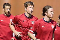 USA's, left to right, Steve Cherundolo, Brian McBride, and John O'Brien during practice in Hamburg, Germany, for the 2006 World Cup, June, 9, 2006.