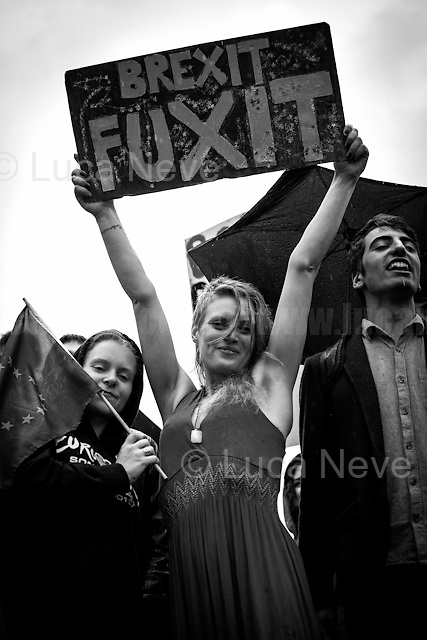 """28.06.2016 - """"London STILL Stays!- Demo in Trafalgar Square & College Green"""".<br /> <br /> London, March-July 2016. Reporting the EU Referendum 2016 (Campaign, result and outcomes) observed through the eyes (and the lenses) of an Italian freelance photojournalist (UK and IFJ Press Cards holder) based in the British Capital with no """"press accreditation"""" and no timetable of the main political parties' events in support of the RemaIN Campaign or the Leave the EU Campaign.<br /> On the 23rd of June 2016 the British people voted in the EU Referendum... (Please find the caption on PDF at the beginning of the Reportage).<br /> <br /> For more photos and information about this event please click here: http://lucaneve.photoshelter.com/gallery/28-06-2016-London-STILL-Stays-Demo-in-Trafalgar-Sq-College-Green/G0000j1VmmpXqi4o/C0000GPpTqAGd2Gg<br /> <br /> For more information about the result please click here: http://www.bbc.co.uk/news/politics/eu_referendum/results"""