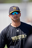 Wooster Fighting Scots pitcher Nanak Saran (26) during practice before a game against Alfred State on March 15, 2018 at Terry Park in Fort Myers, Florida.  Wooster defeated Alfred State 14-4.  (Mike Janes/Four Seam Images)
