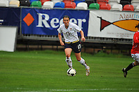 Meghan Schnur surveys the field. The USA defeated Norway 2-1 at Olhao Stadium on February 26, 2010 at the Algarve Cup.