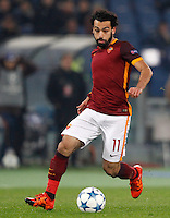 Calcio, Champions League: Gruppo E - Roma vs Bate Borisov. Roma, stadio Olimpico, 9 dicembre 2015.<br /> Roma's Mohamed Salah in action during the Champions League Group E football match between Roma and Bate Borisov at Rome's Olympic stadium, 9 December 2015.<br /> UPDATE IMAGES PRESS/Riccardo De Luca