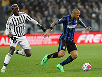 Calcio, Serie A: Juventus vs Inter. Torino, Juventus Stadium, 28 February 2016.<br /> Inter's Felipe Melo, right, is chased by Juventus' Paul Pogba during the Italian Serie A football match between Juventus and Inter at Turin's Juventus Stadium, 28 February 2016.<br /> UPDATE IMAGES PRESS/Isabella Bonotto