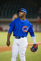 AZL Cubs Yonathan Perlaza (15) warms up the left fielder during the game against the AZL Diamondbacks on August 11, 2017 at Sloan Park in Mesa, Arizona. AZL Cubs defeated the AZL Diamondbacks 7-3. (Zachary Lucy/Four Seam Images)