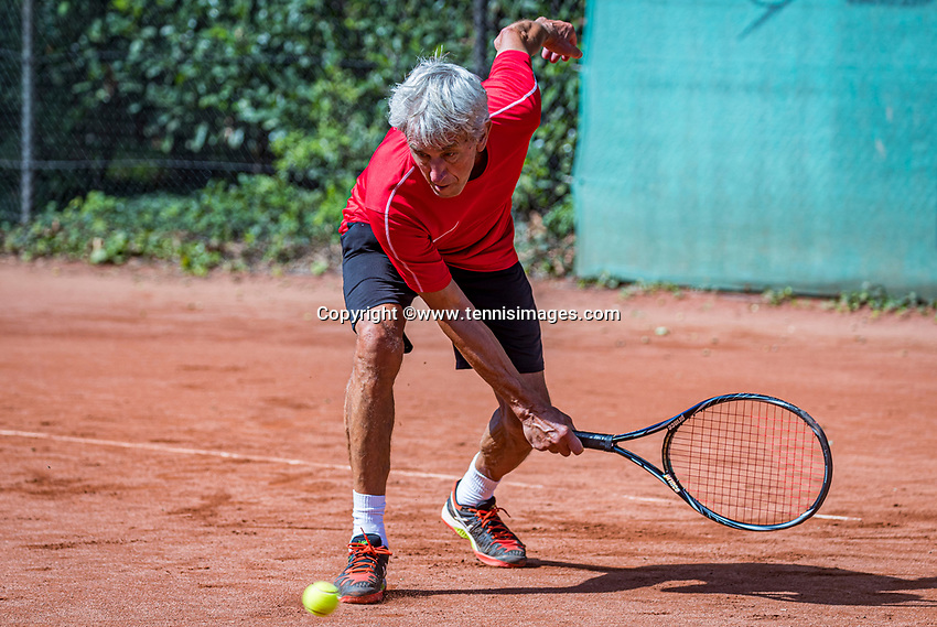 Hilversum, The Netherlands,  August 21, 2020,  Tulip Tennis Center, NKS, National Senior Tennis Championships, Men's single 75+,  Piet Boverhof  (NED)<br /> Photo: Tennisimages/Henk Koster