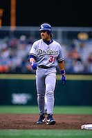 SAN FRANCISCO, CA - Mike Piazza of the Los Angeles Dodgers runs the bases during a game against the San Francisco Giants at Candlestick Park in San Francisco, Californiaon April 17, 1996. (Photo by Brad Mangin)