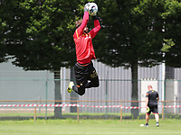 goalkeeper Gaetan Coucke (1) of KV Mechelen does a save during the warm up before a friendly soccer game between KV Mechelen and the Greek Volos NFC during the preparations for the 2021-2022 season , on saturday 17 of July 2021 in GEEL , Belgium . PHOTO SEVIL OKTEM | SPORTPIX