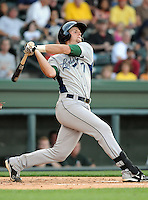 Catcher Mike Kvasnicka (7) of the Lexington Legends, a Houston Astros affiliate, in a game against the Greenville Drive on May 2, 2012, at Fluor Field at the West End in Greenville, South Carolina. Kvasnicka is the No. 25 prospect for the Astros, according to Baseball America. Lexington won, 4-2. (Tom Priddy/Four Seam Images)