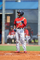 GCL Twins designated hitter Akil Baddoo (2) at bat during the first game of a doubleheader against the GCL Rays on July 18, 2017 at Charlotte Sports Park in Port Charlotte, Florida.  GCL Twins defeated the GCL Rays 11-5 in a continuation of a game that was suspended on July 17th at CenturyLink Sports Complex in Fort Myers, Florida due to inclement weather.  (Mike Janes/Four Seam Images)