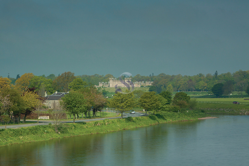 Floors Castle and the River Tweed from Rennie's Bridge, Kelso, Scottish Borders