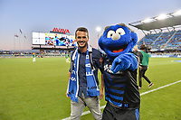 San Jose, CA - Monday July 10, 2017: Valeri 'Vako' Qazaishvili, San Jose Earthquakes mascot Q during a U.S. Open Cup quarterfinal match between the San Jose Earthquakes and the Los Angeles Galaxy at Avaya Stadium.