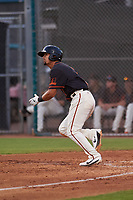 AZL Giants Black Carter Aldrete (7) starts running toward first base during an Arizona League game against the AZL Giants Orange on July 19, 2019 at the Giants Baseball Complex in Scottsdale, Arizona. The AZL Giants Black defeated the AZL Giants Orange 8-5. (Zachary Lucy/Four Seam Images)