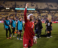 Jenny Bindon (1) of New Zealand salutes the crowd after an international friendly at Crew Stadium in Columbus, OH. The USWNT tiedNew Zealand, 1-1.