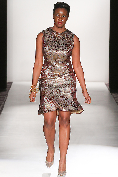 "Jewelry designer  Ronnetta J. Coleman walks runway for the close of her Ronnetta Coleman Fall Winter 2015 ""Lovely Bound"" collection fashion show, during the Accessories Premier Fall Winter 2015 fashion show for  Fashion Gallery New York Fashion Week Fall 2015."
