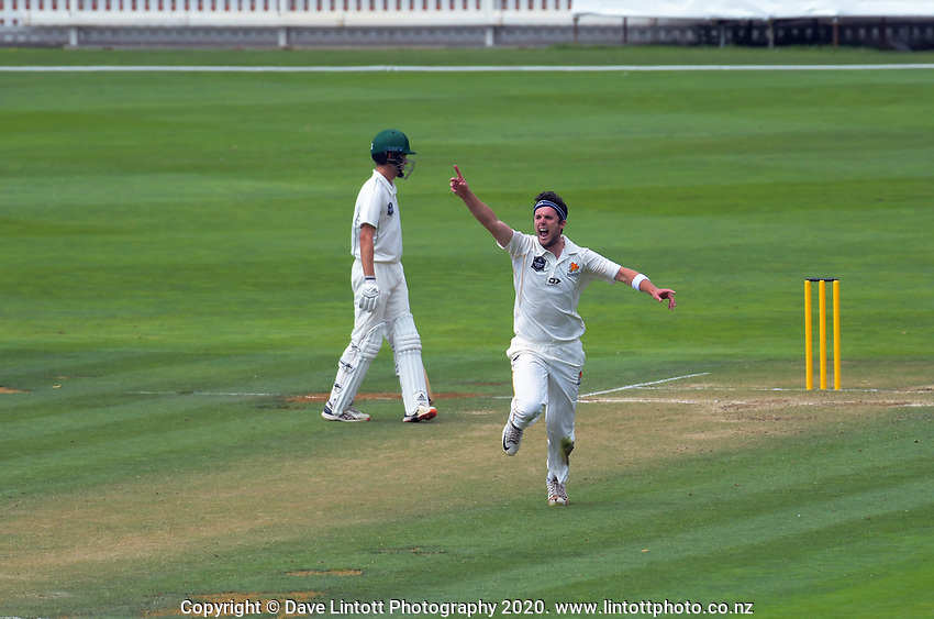 Jamie Gibson appeals during day two of the Plunket Shield cricket match between the Wellington Firebirds and Central Districts at Basin Reserve in Wellington, New Zealand on Tuesday, 3 March 2020. Photo: Dave Lintott / lintottphoto.co.nz