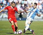 CD Leganes' Diego Rico (r) and Sevilla FC's Vitolo during La Liga match. October 15,2016. (ALTERPHOTOS/Acero)