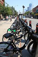 Toronto (ON) CANADA - July 2012 - Queen street west -BIXI stand.
