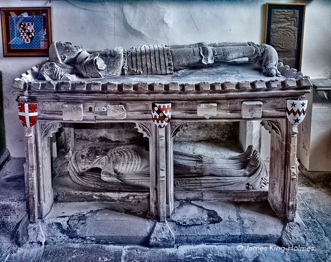 The 15th Century two-tier tomb of  John Golafre in the Parish Church of St. Nicholas, Fyfield, Oxfordshire, UK. The tomb is in the form of a memento mori, or a reflection of mortality, with a representation of a decaying corpse underneath a conventional stone effigy of the deceased in armour. The 15th Century two-tier tomb of  John Golafre in the Parish Church of St. Nicholas, Fyfield, Oxfordshire, UK. The tomb is in the form of a memento mori, or a reflection of mortality, with a representation of a decaying corpse underneath a conventional stone effigy of the deceased in armour.  Photographed by courtesy of St. Nicholas Church, Fyfield.