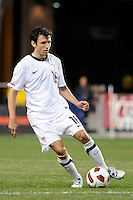Michael Parkhurst (16) of the United States (USA). The men's national teams of the United States (USA) and Colombia (COL) played to a 0-0 tie during an international friendly at PPL Park in Chester, PA, on October 12, 2010.