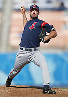 Charles Nagy of the Cleveland Indians pitches during a 2002 MLB season game against the Los Angeles Dodgers at Dodger Stadium, in Los Angeles, California. (Larry Goren/Four Seam Images)