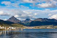 Argentina, Ushuaia, Antarctica expedition aboard the Hurtigruten FRAM ship. Leaving the port.