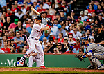 22 June 2019: Boston Red Sox left fielder Andrew Benintendi at bat against the Toronto Blue Jays at Fenway :Park in Boston, MA. The Blue Jays rallied to defeat the Red Sox 8-7 in the 2nd game of their 3-game series. Mandatory Credit: Ed Wolfstein Photo *** RAW (NEF) Image File Available ***