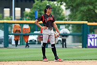 Indianapolis Indians shortstop Cole Tucker (27) in the field as mascots look on before running a race in between innings during an International League game against the Buffalo Bisons on June 20, 2019 at Sahlen Field in Buffalo, New York.  Buffalo defeated Indianapolis 11-8  (Mike Janes/Four Seam Images)
