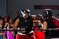 October 13, 2012, Delran, New Jersey, USA: Derek Frazier (left) fights Geraldo Rios during the taping of the MTV reality show Made at It's On Boxing/MMA.