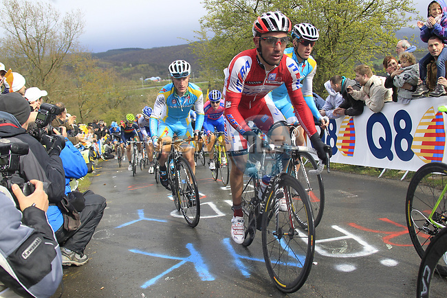 "The peloton including Joaquim ""Purito"" Rodriguez (ESP) Team Katusha climb the Cote de la Redoute during the 98th edition of Liege-Bastogne-Liege, running 257.5km from Liege to Ans, Belgium. 22nd April 2012.  <br /> (Photo by Eoin Clarke/NEWSFILE)."