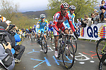"""The peloton including Joaquim """"Purito"""" Rodriguez (ESP) Team Katusha climb the Cote de la Redoute during the 98th edition of Liege-Bastogne-Liege, running 257.5km from Liege to Ans, Belgium. 22nd April 2012.  <br /> (Photo by Eoin Clarke/NEWSFILE)."""