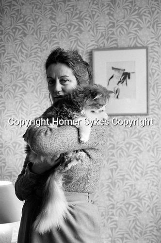 Germaine Greer, at home London 1980s.<br /> <br /> <br /> <br />  My ref /4561/1980s,