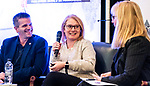 Moderator Karen O'Neill speaks with Laurie Cairns,m Martin Richard, François Robertm, and Catherine Gosselin-Després during the CPC Paralympic Summit 2018 at the Palliser Hotel in Calgary, Alberta on November 15, 2018.