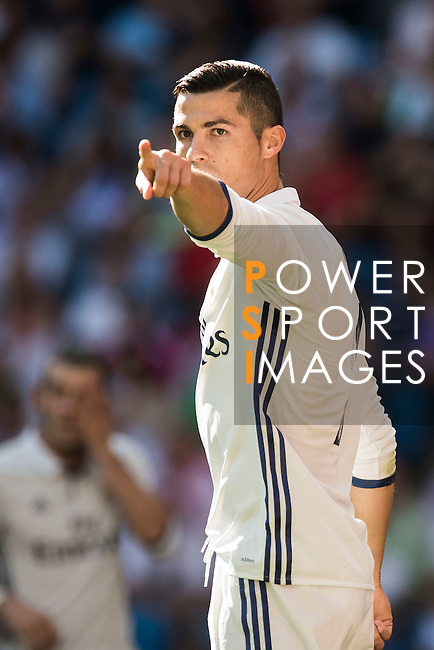 Cristiano Ronaldo of Real Madrid gestures during their La Liga match between Real Madrid CF and SD Eibar at the Santiago Bernabéu Stadium on 02 October 2016 in Madrid, Spain. Photo by Diego Gonzalez Souto / Power Sport Images
