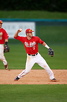 Ohio State Buckeyes shortstop Craig Nennig (7) throws to first base during a game against the Niagara University Purple Eagles on February 20, 2016 at Holman Stadium at Historic Dodgertown in Vero Beach, Florida.  Ohio State defeated Niagara 10-7.  (Mike Janes/Four Seam Images)
