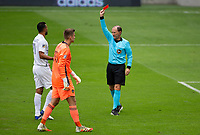 LOS ANGELES, CA - OCTOBER 25: Referee Kevin Stott shows red during a game between Los Angeles Galaxy and Los Angeles FC at Banc of California Stadium on October 25, 2020 in Los Angeles, California.